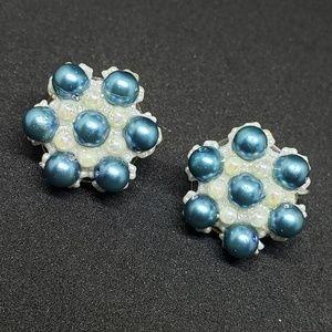Beaded Vintage Clip On Earrings Flower Snowflake